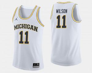 Men's #11 Basketball Michigan Luke Wilson college Jersey - White
