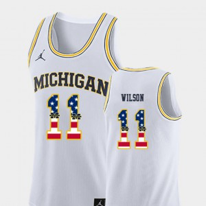 Men #11 University of Michigan Basketball USA Flag Luke Wilson college Jersey - White