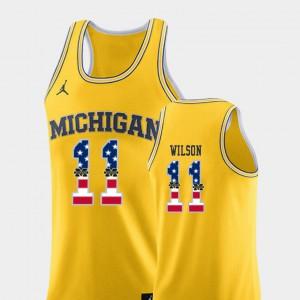 Men Basketball USA Flag #11 Wolverines Luke Wilson college Jersey - Yellow