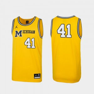 Men U of M 1989 Throwback Basketball #41 Replica college Jersey - Maize