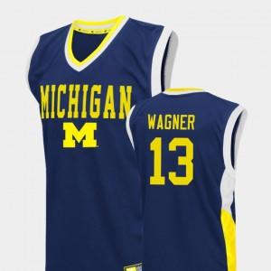 Men Fadeaway Basketball #13 Wolverines Moritz Wagner college Jersey - Blue
