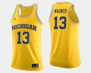 Men Basketball Wolverines #13 Moritz Wagner college Jersey - Maize