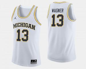 Men #13 Moritz Wagner college Jersey - White Basketball Michigan