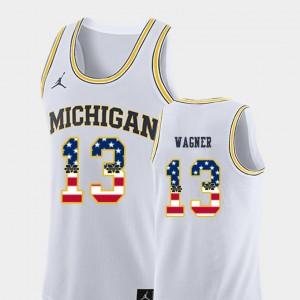 Men Basketball USA Flag U of M #13 Moritz Wagner college Jersey - White