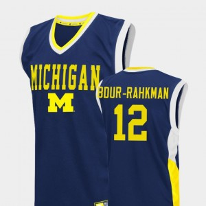 Men's Basketball University of Michigan Fadeaway #12 Muhammad-Ali Abdur-Rahkman college Jersey - Blue