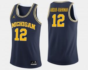 Men's #12 Basketball Michigan Muhammad-Ali Abdur-Rahkman college Jersey - Navy