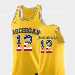 Men's USA Flag Basketball #12 Michigan Muhammad-Ali Abdur-Rahkman college Jersey - Yellow