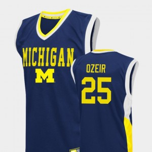 Men #25 Wolverines Fadeaway Basketball Naji Ozeir college Jersey - Blue