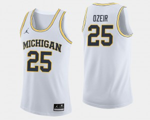 Men's Wolverines Basketball #25 Naji Ozeir college Jersey - White