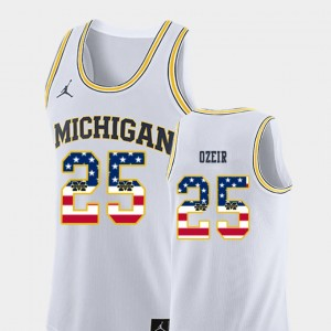 Men's Basketball #25 USA Flag Wolverines Naji Ozeir college Jersey - White