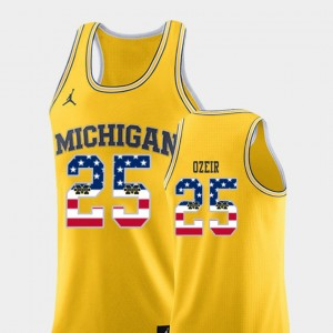Men's #25 USA Flag Michigan Wolverines Basketball Naji Ozeir college Jersey - Yellow