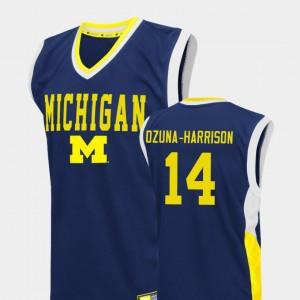 Mens Fadeaway University of Michigan #14 Basketball Rico Ozuna-Harrison college Jersey - Blue