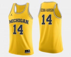 Men's Wolverines Basketball #14 Rico Ozuna-Harrison college Jersey - Maize