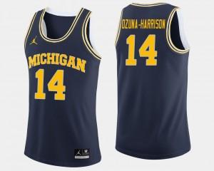 Mens #14 U of M Basketball Rico Ozuna-Harrison college Jersey - Navy