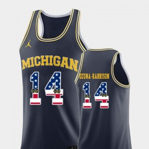 Mens #14 USA Flag U of M Basketball Rico Ozuna-Harrison college Jersey - Navy