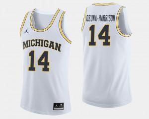 Men Michigan #14 Basketball Rico Ozuna-Harrison college Jersey - White