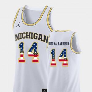 Men's #14 Basketball USA Flag University of Michigan Rico Ozuna-Harrison college Jersey - White