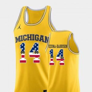 Men USA Flag #14 U of M Basketball Rico Ozuna-Harrison college Jersey - Yellow
