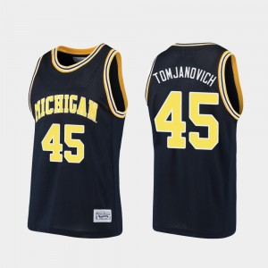 Mens Michigan Wolverines Alumni #45 Basketball Rudy Tomjanovich college Jersey - Navy