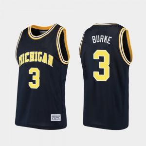 Men U of M #3 Alumni Basketball Trey Burke college Jersey - Navy