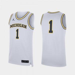Men Michigan Wolverines #1 Basketball Replica college Jersey - White