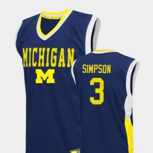 Men Basketball Fadeaway #3 Michigan Zavier Simpson college Jersey - Blue