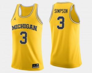 Men #3 U of M Basketball Zavier Simpson college Jersey - Maize