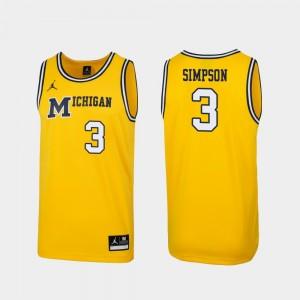 Men #3 Michigan Replica 1989 Throwback Basketball Zavier Simpson college Jersey - Maize