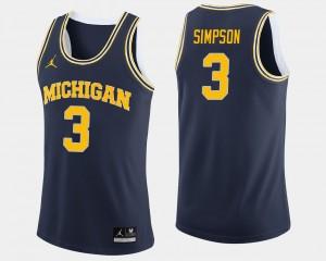 Men #3 Basketball Michigan Zavier Simpson college Jersey - Navy