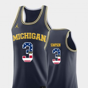 Men's USA Flag Basketball #3 Michigan Zavier Simpson college Jersey - Navy