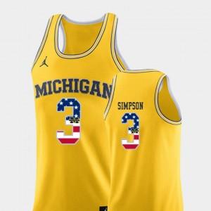 Men Michigan Basketball #3 USA Flag Zavier Simpson college Jersey - Yellow