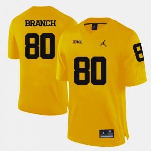 Men Football #80 Michigan Wolverines Alan Branch college Jersey - Yellow