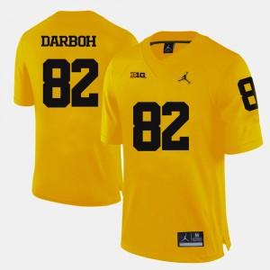 Men's Football University of Michigan #82 Amara Darboh college Jersey - Yellow