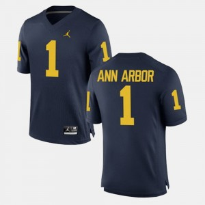 Men's Alumni Football Game University of Michigan #1 Ann Arbor college Jersey - Navy