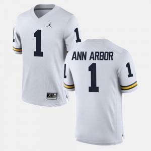Mens #1 Michigan Alumni Football Game Ann Arbor college Jersey - White