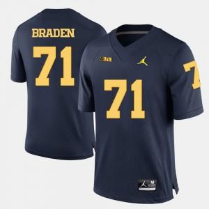 Men Football #71 Michigan Ben Braden college Jersey - Navy Blue