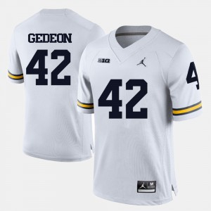 Men's Football University of Michigan #42 Ben Gedeon college Jersey - White