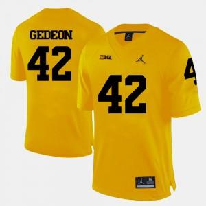 Men's University of Michigan Football #42 Ben Gedeon college Jersey - Yellow