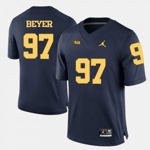 Mens Football #97 Michigan Wolverines Brennen Beyer college Jersey - Navy Blue