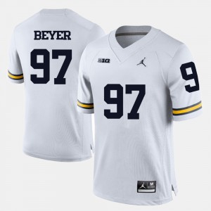 Men U of M Football #97 Brennen Beyer college Jersey - White