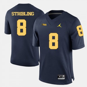 Men Football Michigan Wolverines #8 Channing Stribling college Jersey - Navy Blue