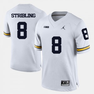 Men Football University of Michigan #8 Channing Stribling college Jersey - White
