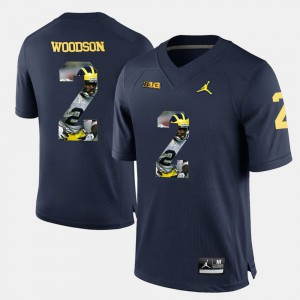 Men's Wolverines Player Pictorial #2 Charles Woodson college Jersey - Navy Blue