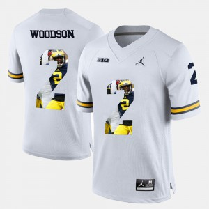 Mens U of M #2 Player Pictorial Charles Woodson college Jersey - White