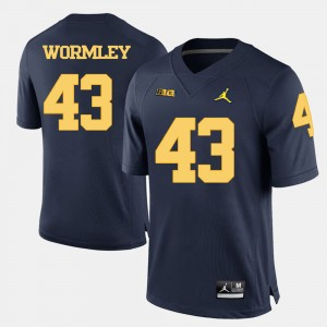 Men's #43 Football Wolverines Chris Wormley college Jersey - Navy Blue
