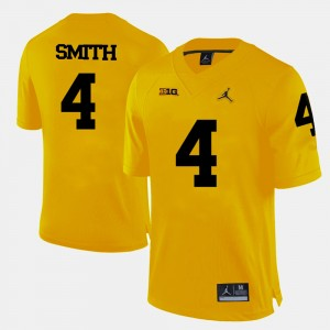 Men #4 Football Michigan De'Veon Smith college Jersey - Yellow