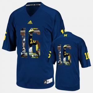 Men Michigan Wolverines Player Pictorial #16 Denard Robinson college Jersey - Navy Blue