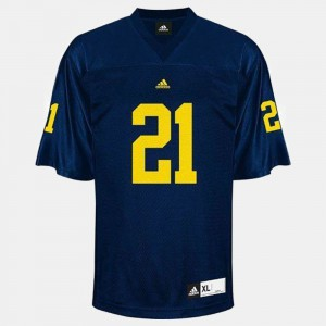 Youth #21 Football Michigan desmond Howard college Jersey - Blue