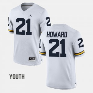 Kids Football #21 Michigan desmond Howard college Jersey - White