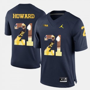 Men University of Michigan #21 Player Pictorial Desmond Howard college Jersey - Navy Blue